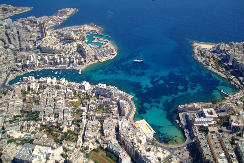 Ariel view of St. Juliens Bay located in the Mediterranean country of Malta.