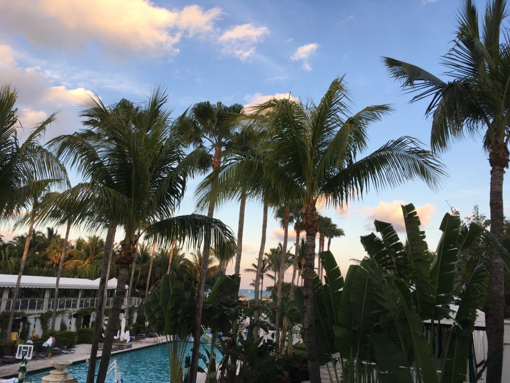 An image of the sun setting in Miami, Florida from the view of my hotel