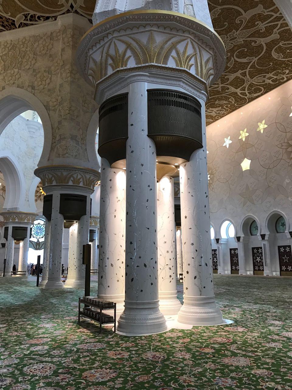 Pillars at the Grand Mosque In Dubai.