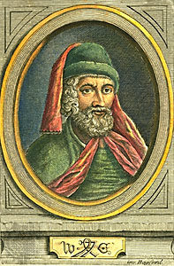 A depiction of William Caxton.